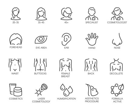 Thematic set icons isolated. Avatar of women of different ages, doctor, beautician, facial parts, female figure and cosmetic concept logos. 20 line labels. Vector illustration of cosmetology series