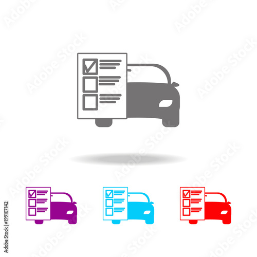 Car service list icon  Elements of car repair multi colored icons