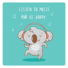 Postcard with cute cartoon koala  listening to music in earphones. Vector contour  image. Little funny baby animal. Children's illustration.