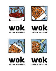 Wok poster design illustration set