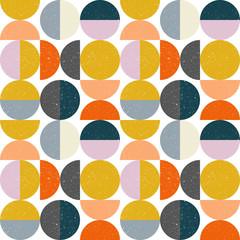 Vecteur moderne abstrait motif géométrique sans couture avec demi-cercles et cercles dans un style scandinave rétro