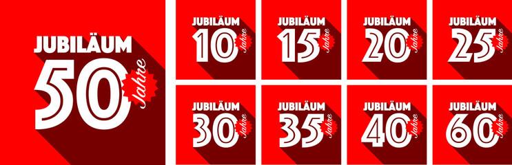 Jubiläum von 10 bis 60 Jahren