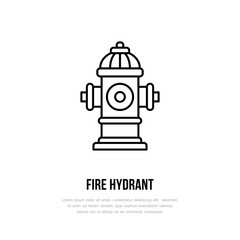Fire hydrant sign. Firefighting, safety equipment flat line icon.