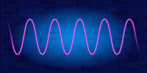 Neon wave graph against binary code background
