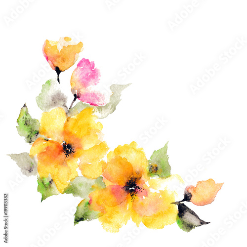 Watercolor Yellow Flowers Frame With Paint Flowers Decorative