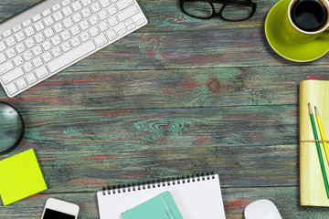 Office desk table with supplies. Top view. Copy space for text