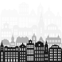 vector silhouettes of european city