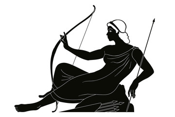 Ancient Greek goddess Artemis with a bow and arrows is in the tunic. Drawing isolated on white background.