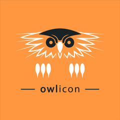 The owl's head. Bird vector icon. Logo, emblem, label, sign, design element.
