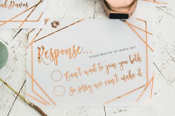 Copper hand written wedding invitations