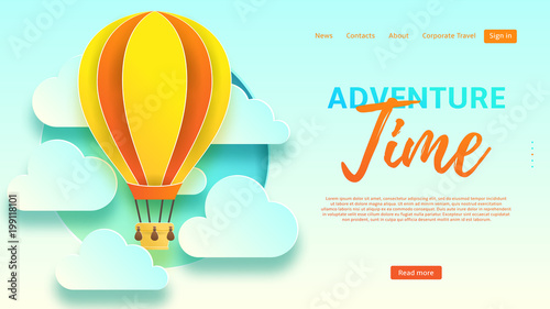 Adventure Time Web Banner Template Beautiful Background With Clouds And Air Balloon In Paper Art