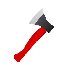 Photorealistic axe on a white background. Ax red color vector illustration. Cleaver for fire tools.