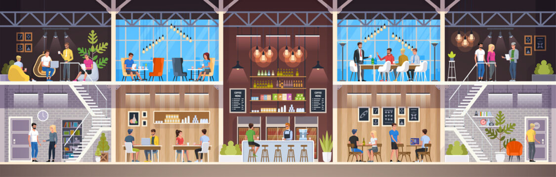 Modern Cafe. Interior Restaurant. Creative Office Coworking Center. University Campus. Coffee shop