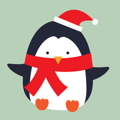 cute penguin wearing shawl and hat design