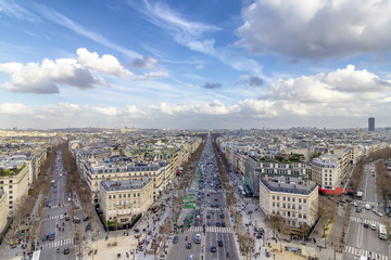 Aerial view of Paris cityscape with  Av. des Champs-Elysees in the center of image