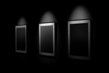 mocap paintings in the gallery. empty lighted frames for framing their paintings.