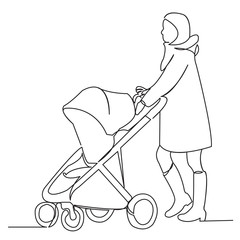 a woman is walking with a stroller