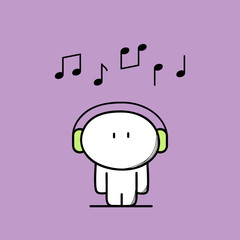 Cute funny man with headphones or earphone and notes above the head. Music, tune or song, pleasure and relaxation cartoon vector illustration.