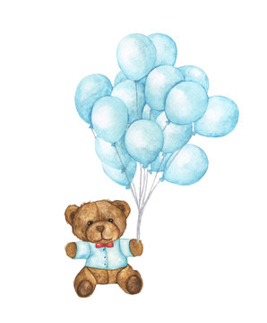 Hand drawn watercolor of teddy bear flying with blue balloons on white background.