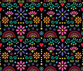 Meksykańska sztuka ludowa bez szwu wektor wzór, kolorowy design z kwiatami tapety inspirowane tradycyjnymi wzorami z Meksyku - 199123354