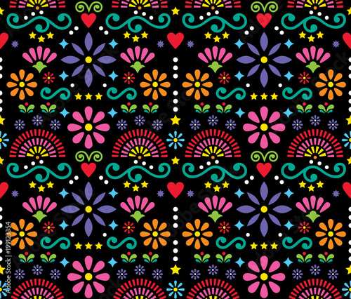 Mexican Folk Art Seamless Vector Pattern Colorful Design With Flowers Wallpaper Inspired By Traditional Designs