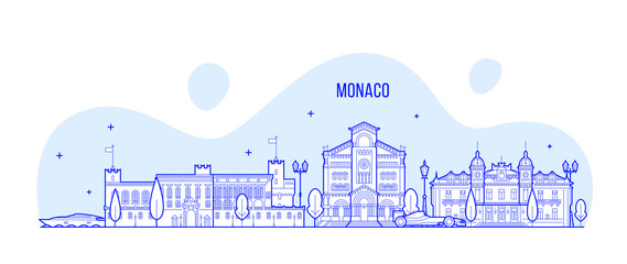 Wall Mural - Monaco skyline city buildings vector