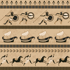 Seamless pattern with ancient greek ships, fighting people, horses and ornament. Traditional ethnic background. Vintage vector illustration