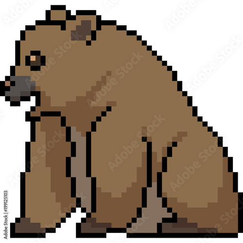 vector pixel art bear sit stock image and royalty free vector files