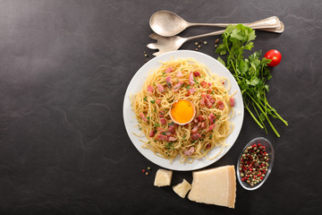 pasta with bacon,parmesan and egg