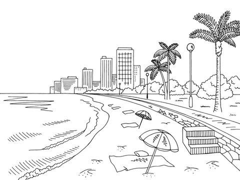 City beach graphic black white city landscape sketch illustration vector