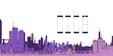 Illustration of a city for the background,with lettering of the city - vector EPS10