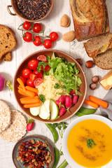 selection of vegetarian food, healthy food