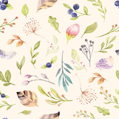 Watercolor floral bloom seamless pattern in pastel colors. Seamless background with bloossom flower and leaves, boho illustration. Design for invitation, wedding or greeting card