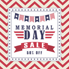 Vector Memorial Day sale background with stars, ribbon and lettering. Template for Memorial Day.