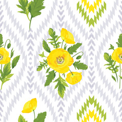 Beautiful yellow flowers, green leaves on the white and grey ikat background. Floral seamless pattern. Romantic vector illustration. Endless texture of summer design. Graphic wallpaper with poppies.