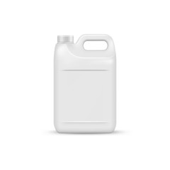mock up liquid laundry detergent package, realistic blank plastic white canister. Mockup for brand and package design