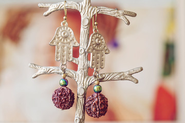 Fashionable gypsy style earrings with natural components