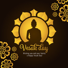 Vesak day banner with Gold Buddha on circle and Lotus petals on dark background vector design