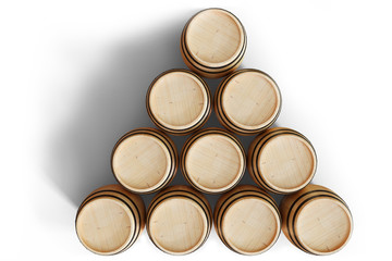 3D Illustration wooden barrels view top, wine isolated on white background. Alcoholic drink in wooden barrels, such as wine, cognac, rum, brandy.