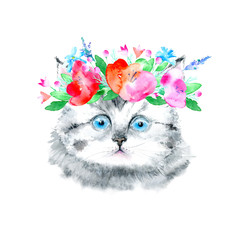 Postcard of a gray kitten and floral wreath.Cat greeting card.Watercolor hand drawn illustration.White background.