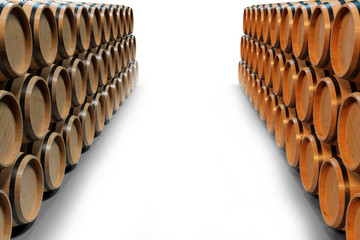 3D Illustration wooden barrels wine isolated on white background. Alcoholic drink in wooden barrels, such as wine, cognac, rum, brandy.