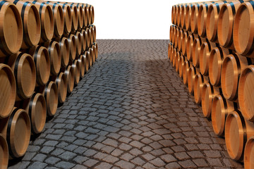 3D Illustration background wooden barrels wine. Alcoholic drink in wooden barrels, such as wine, cognac, rum, brandy.