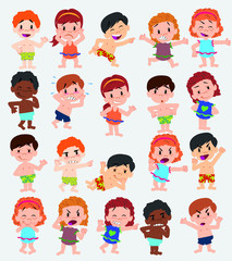 Cartoon character boys and girls in a swimsuit. Set with different postures, attitudes and poses, doing different activities. Vector illustrations.