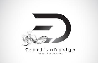 ED Letter Logo Design with Black Smoke.