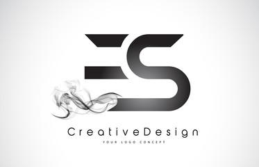 ES Letter Logo Design with Black Smoke.