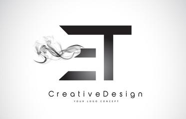 ET Letter Logo Design with Black Smoke.