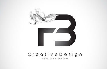 FB Letter Logo Design with Black Smoke.