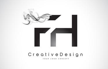 FH Letter Logo Design with Black Smoke.