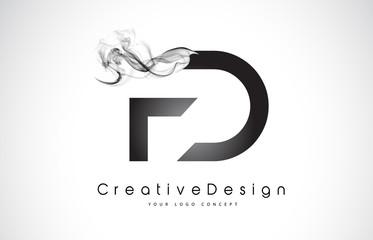 FD Letter Logo Design with Black Smoke.
