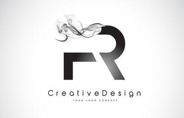 FR Letter Logo Design with Black Smoke.